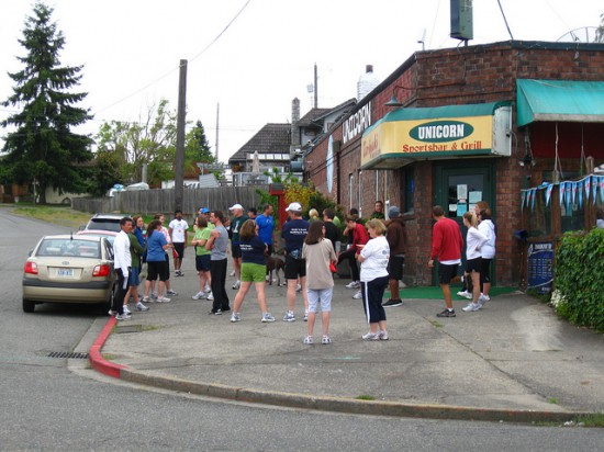 The Tacoma Runners prepare for a run through North Tacoma and Ruston
