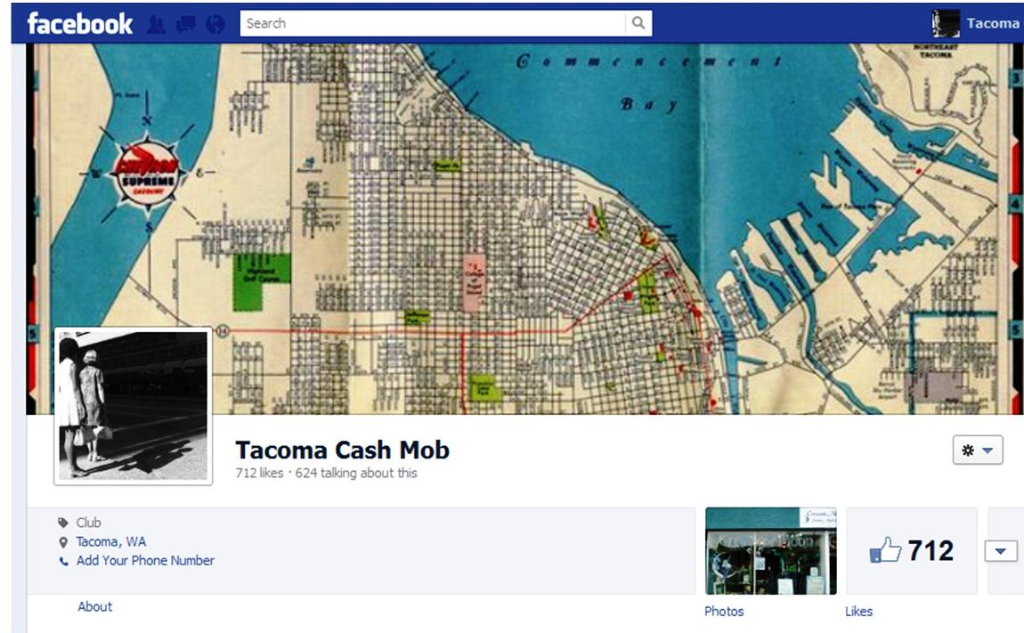 The banner on the Tacoma Cash Mob facebook page