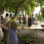 Post Defiance celebrants gathered in the backyard of editor Katy Evans to enjoy refreshments provided by 1022 South, Backcountry Creamery, 21 Cellars, Hilltop Pop Shop and Bluebeard Coffee.