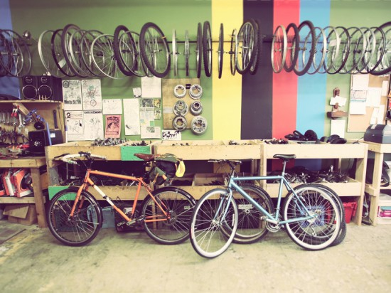 A fresh paint job echoes racing stripes and brightens the 2nd Cycle workspace.