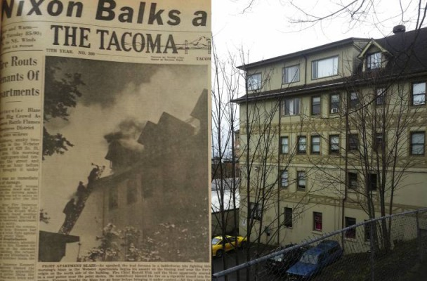 A Tacoma News Tribune article about the 1960 fire next to a contemporary image of the Webster.