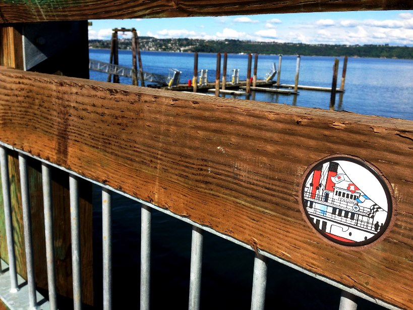 "A Chandler O'Leary ""droplet"" on Old Tacoma Dock"