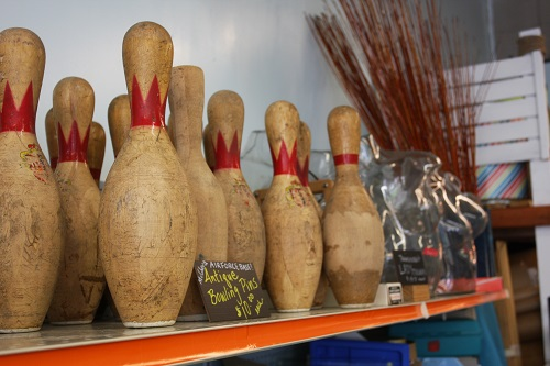 Antique bowling pins. They are very cool.