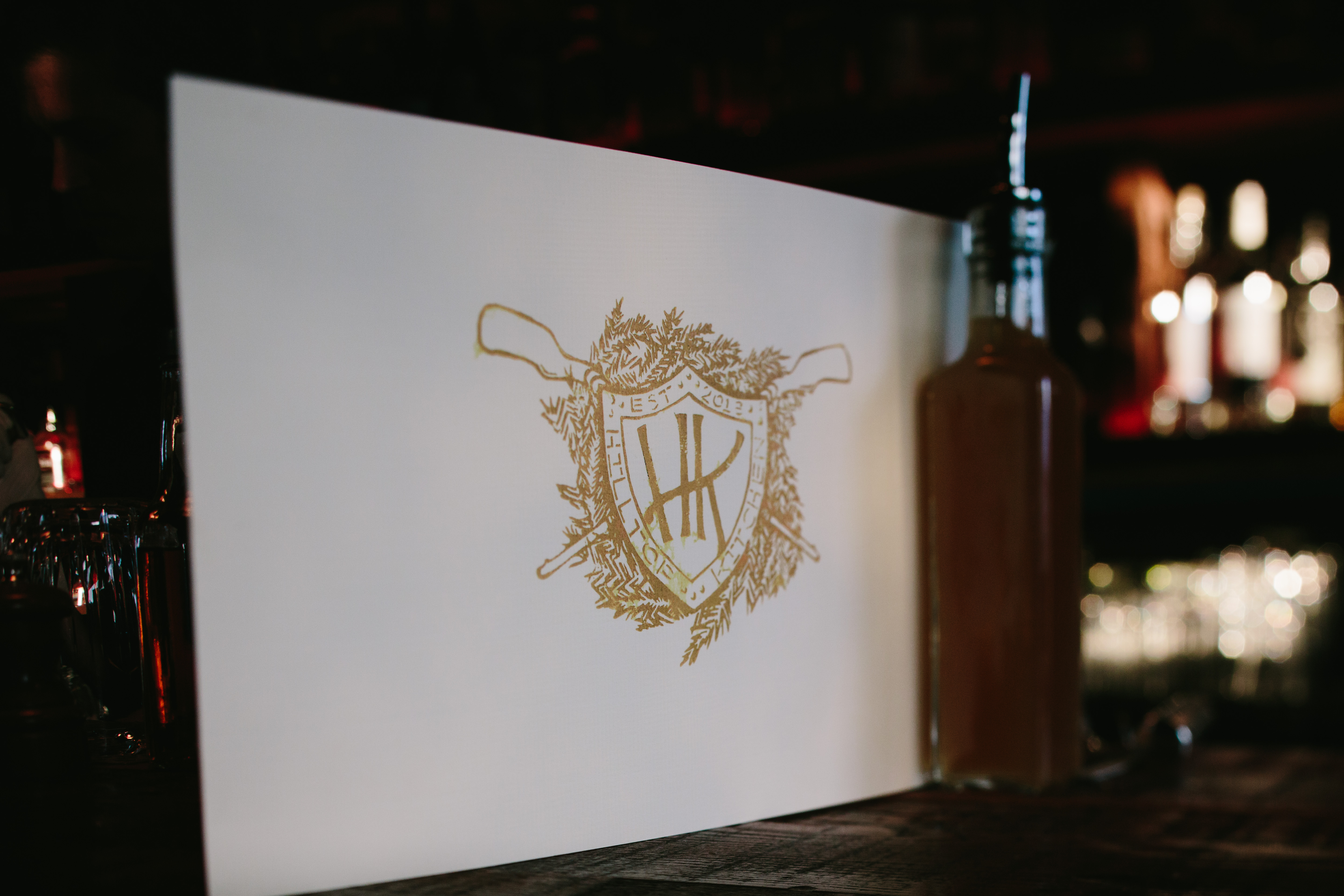Hand printed menu at Hilltop Kitchen