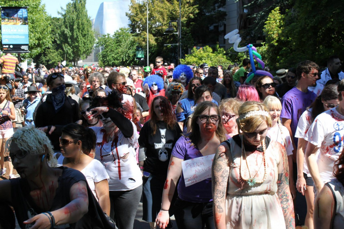 Zombie hordes at Crypticon's 2013 Seattle Zombie Walk.