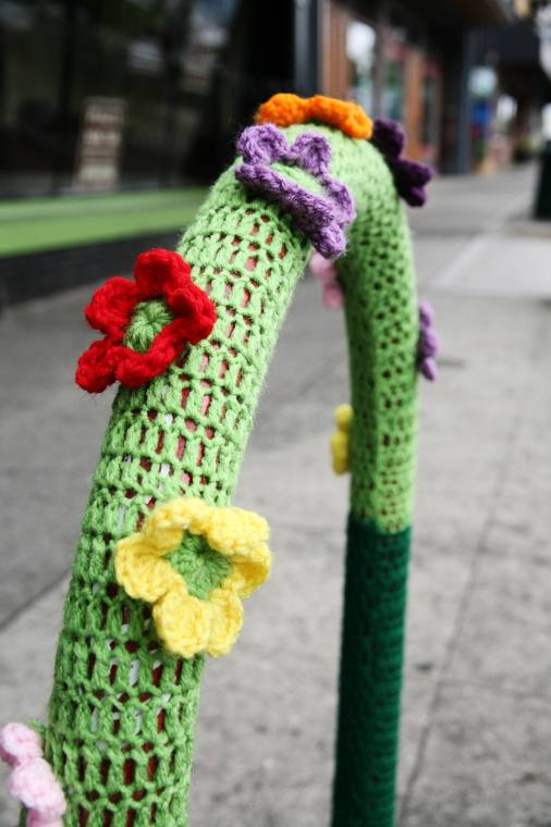 In front of Marrow, this is one of the earliest yarn bombs to show up on 6th Ave.