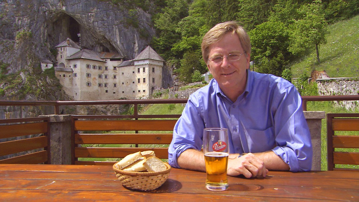 Rick Steves at the Predjama Castle in Slovenia