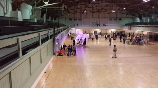 Attendees mill about on the arena floor with local art and informative displays