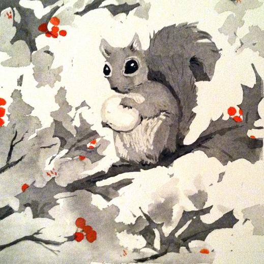 Squirrel with tulip bulb