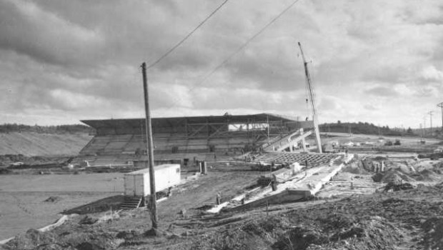 Cheney Stadium, partially constructed in 1960