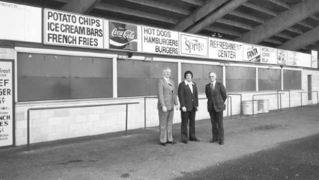 Stan Naccarato, general manager for the Tacoma Tigers, and Rene Le Beitre, 1976