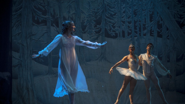 Kate Monthy and Joel Myers, as the Snow Queen and King, greet Clara.