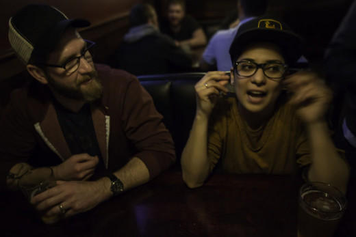 Aaron Stevens and Vicci Martinez at Hank's.