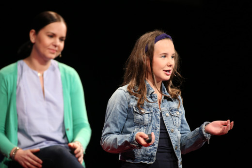 Maria Oszova Johnson (green jacket) and Olivia Anderson team up to speak at TEDx Tacoma on Saturday, March 21, 2015. (Photo: John Froschauer/PLU)