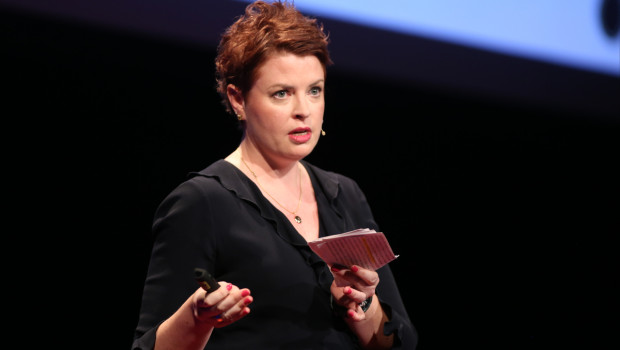 Amy Young speaking at TEDx Tacoma on Saturday, March 21, 2015. (Photo: John Froschauer/PLU)