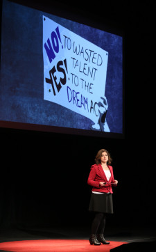Maria Chávez speaking at TEDx Tacoma on Saturday, March 21, 2015. (Photo: John Froschauer/PLU)