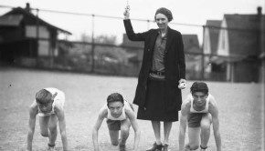 Track coach Ms. Miller at Ruston Grade School, 1928 courtesy of the Tacoma Public Library Image Archives.