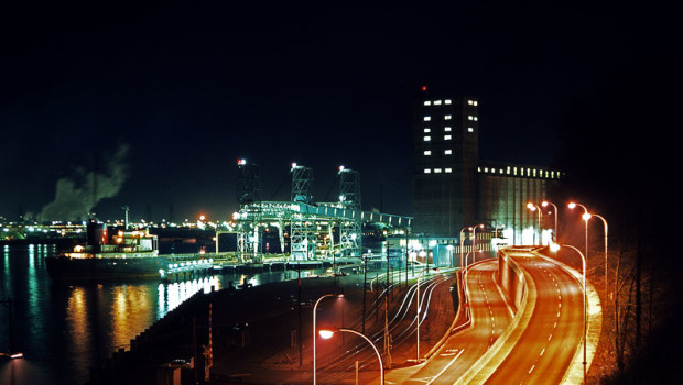 Schuster Parkway looking east at night 1976
