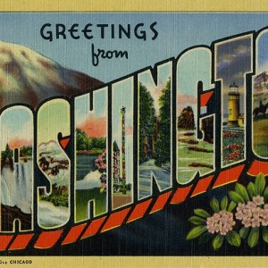 Greetings from Washington State vintage postcard