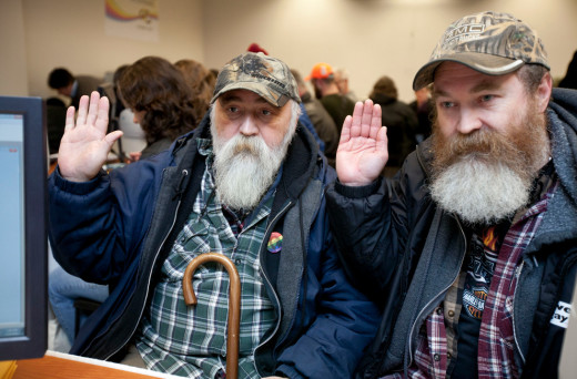Larry Duncan, 56, and Randy Shepherd, 48, apply for a marriage license in the King County Administration Building. Originally from Dallas, Texas, they told photographer Meryl Schenker they moved to Washington 7 years ago because it was more gay friendly.