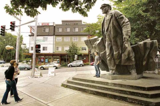 The 16-foot tall Lenin statue brought to America by late Issaquah resident Lewis Carpenter, photo by By Greg Farrar.