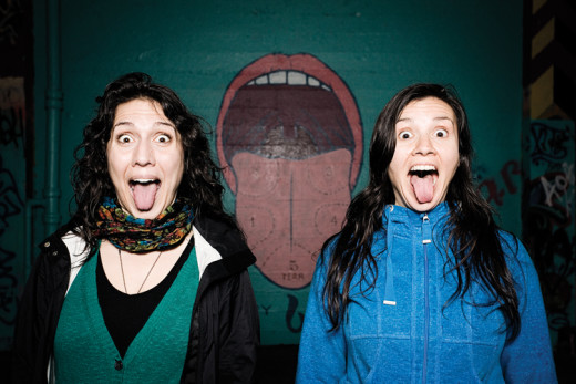 Justine Valdez on the left, Hojozi Matheson-Margullison the right. Photograph by Kali Raisl